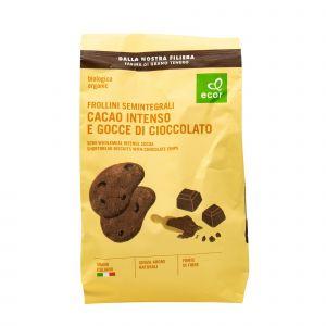 Frollini Semintegrali al Cacao Intenso E Gocce di Cioccolato Ecor 350 G